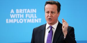 """Prime Minister David Cameron makes a speech at Ransomes Jacobsen in Ipswich, Suffolk, where he set out the Tory path to full employment, promising to keep Britain the """"jobs factory of Europe"""" by backing small business."""